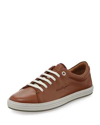Riviera Leather Low-Top Sneaker, Brown