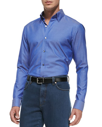 Solid Woven Button-Down Shirt, Blue