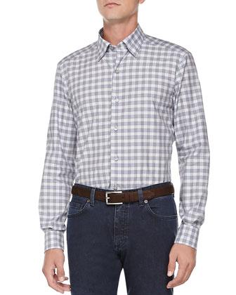 Check-Poplin Woven Shirt, Blue/Gray