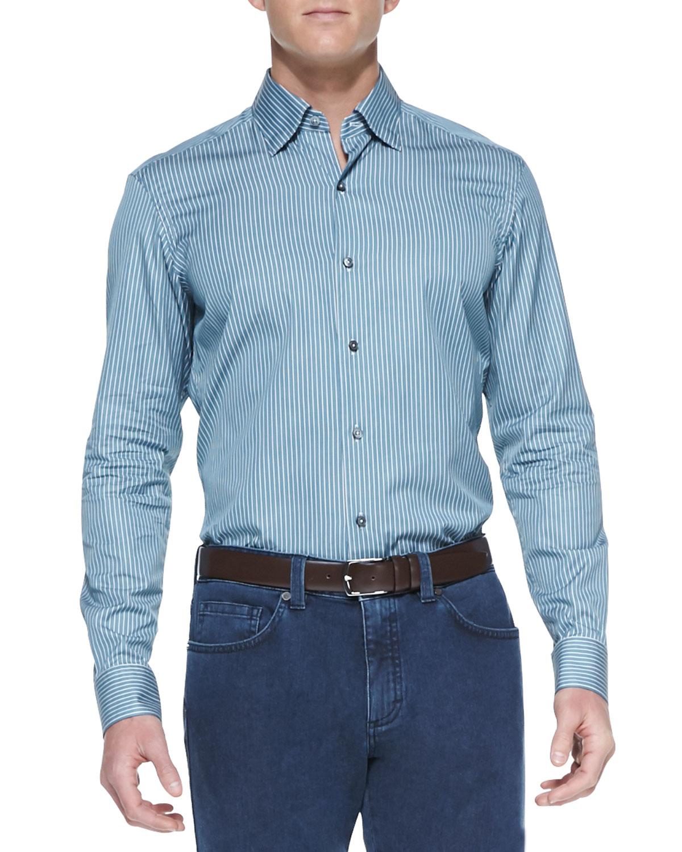 Mens Striped Long Sleeve Shirt, Emerald/White   Ermenegildo Zegna