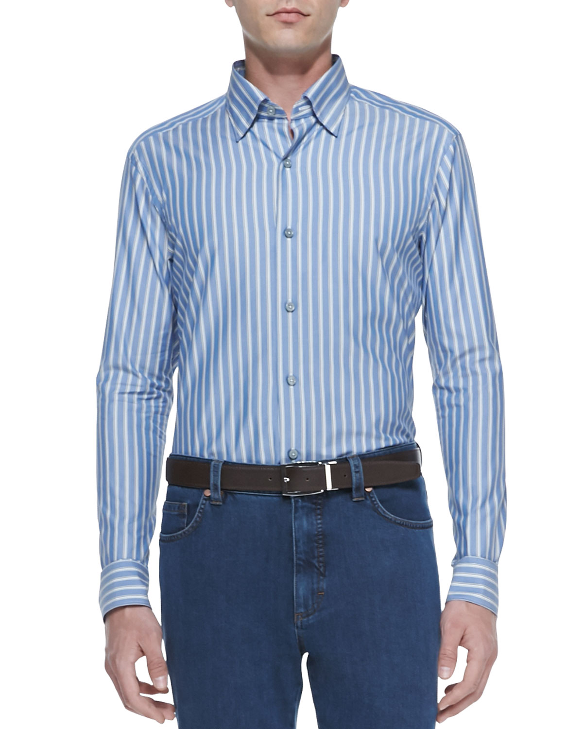 Mens Striped Oxford Long Sleeve Shirt, Blue   Ermenegildo Zegna   Blue (XXXL)