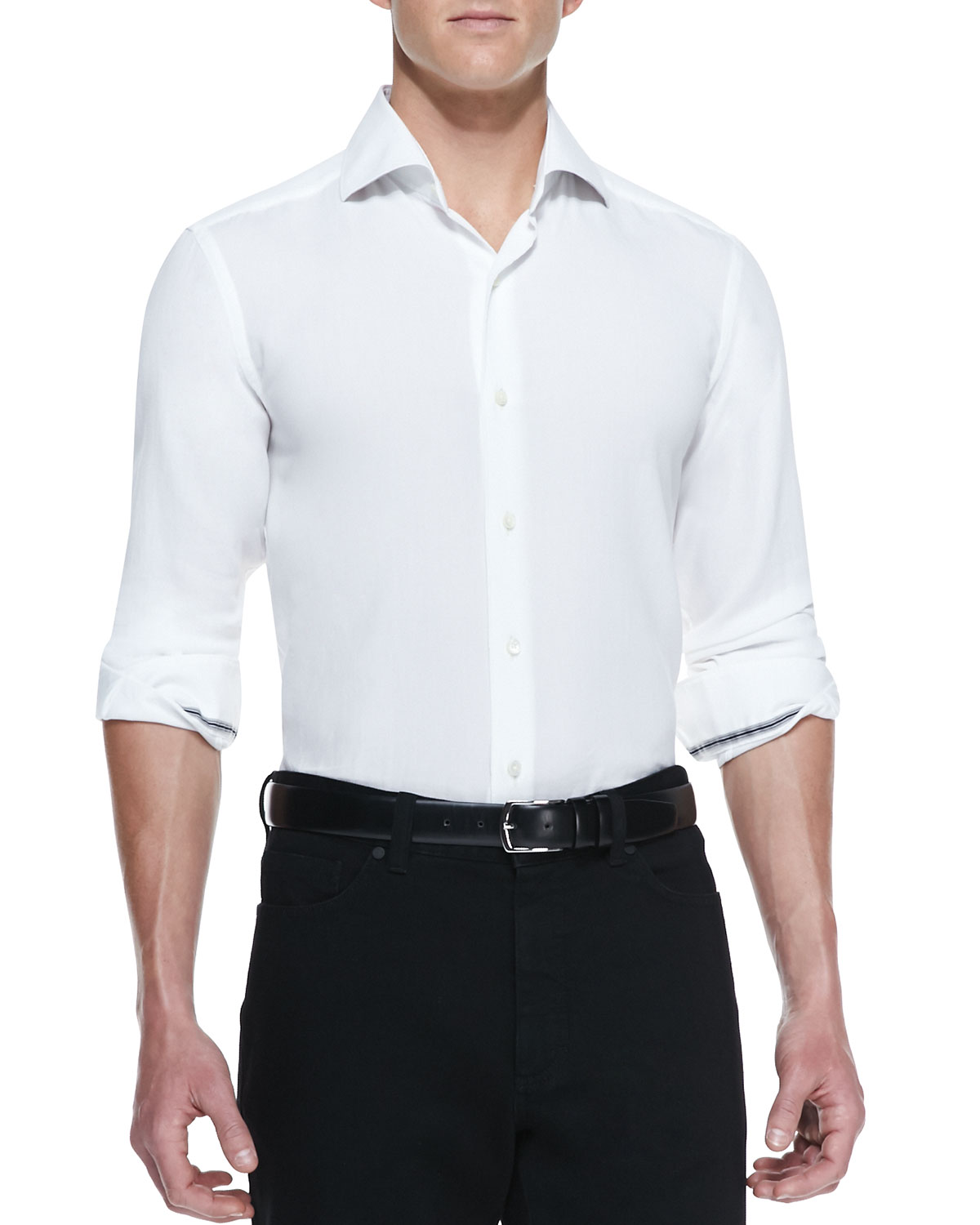Mens Solid Pique Long Sleeve Shirt, White   Ermenegildo Zegna   White (LARGE)