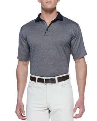 Birdseye Knit Polo Shirt & Cotton/Cashmere Five-Pocket Pants