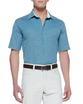Pique Button-Front Polo Shirt, Emerald