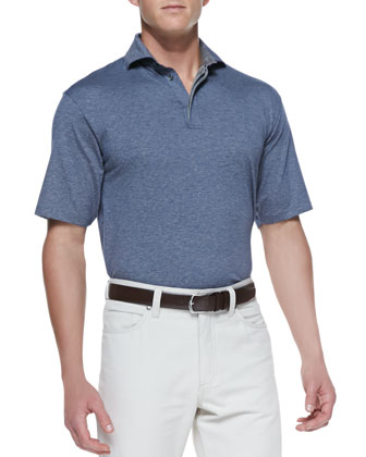 Spread-Collar Polo, Mid Blue/Gray