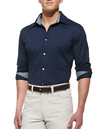Pique Button-Down Shirt, Navy