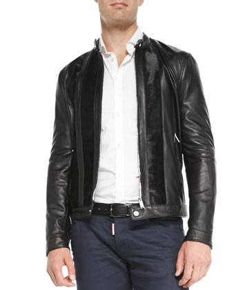 Leather Jacket with Calf Hair Trim, Black