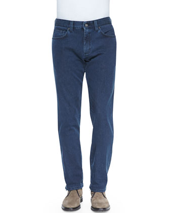 Slim-Fit Denim Jeans, Blue