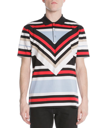 Columani Diagonal-Striped Polo Shirt