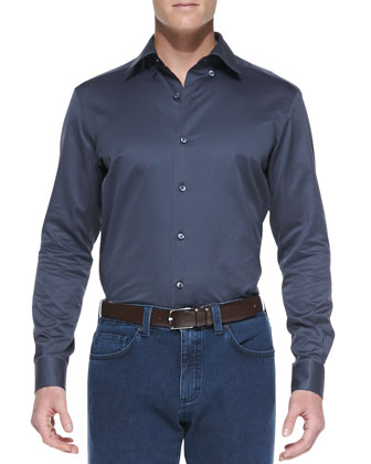 Solid Sateen Shirt & Slim-Fit Denim Jeans