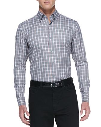 Long-Sleeve Weave-Print Shirt, Gray/White