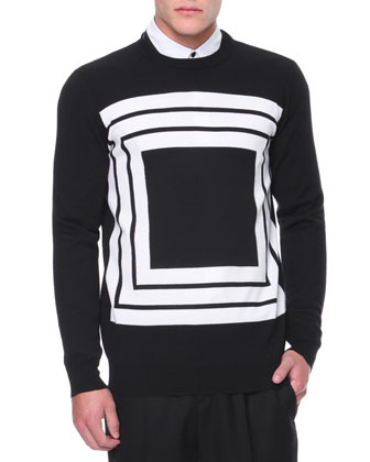 Square-Print Knit Sweater