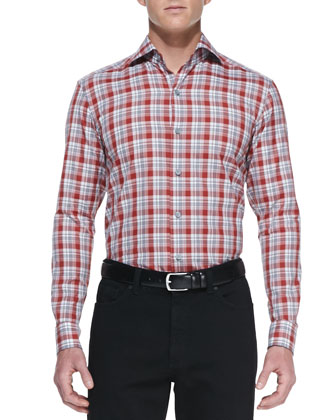 Plaid Woven Long-Sleeve Shirt, Red/Gray