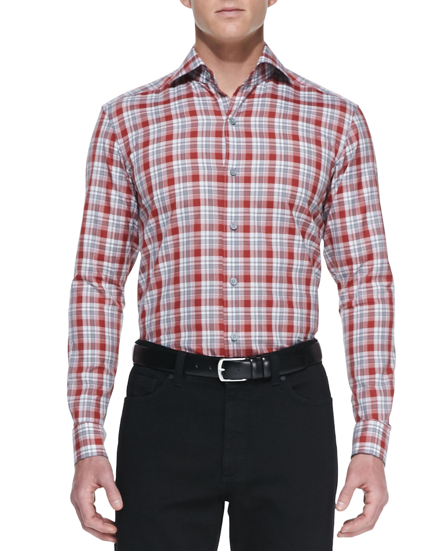 Mens Plaid Woven Long Sleeve Shirt, Red/Gray   Ermenegildo Zegna   Red/Gray