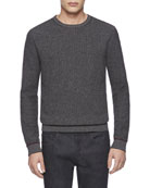 Wool/Cashmere Tweed-Knit Sweater, Med Gray