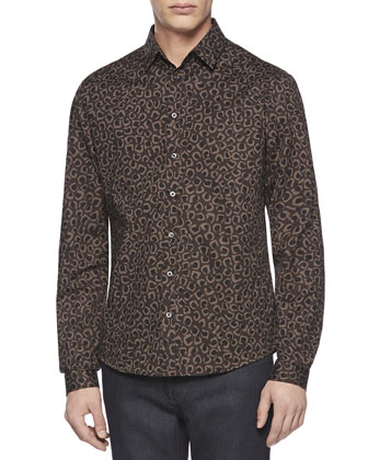 Leopard-Print Slim-Fit Shirt