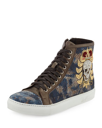 Lajos Amazon Men's Cork High-Top Sneaker, Navy/Brown