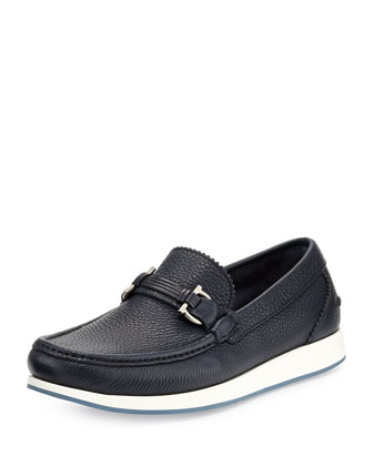 Gancini Leather Boat Shoe, Navy