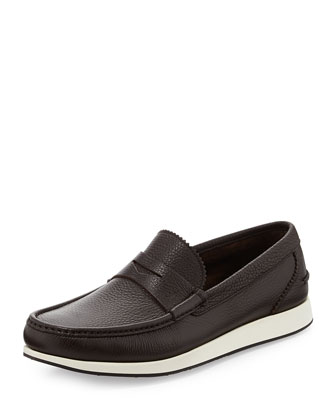 Renaud Pebbled-Leather Penny Boat Loafer, Brown