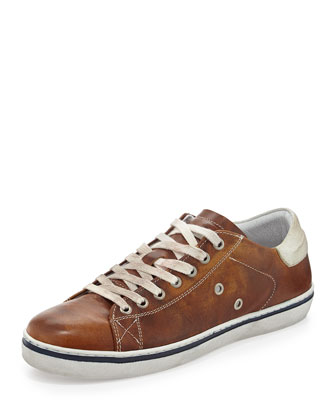 Worn Leather Lace-Up Sneaker, Brown