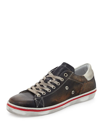 Worn Leather Lace-Up Sneaker, Navy