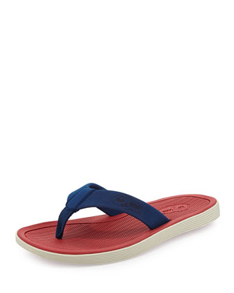 Men's Rubber Flip-Flop Sandal, Blue/Red