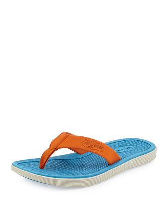 Men's Rubber Flip-Flop Sandal, Orange/Blue