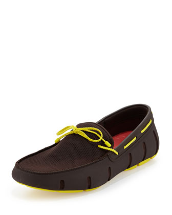 Braided Bow Water-Resistant Loafer, Black/Yellow