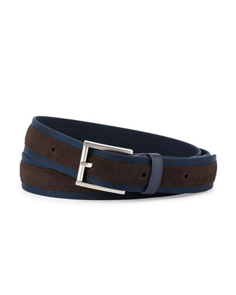 Suede & Canvas Belt, Navy/Tan