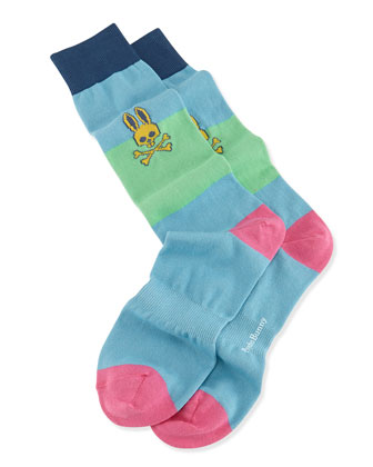 Colorblock Knit Socks, Light Blue