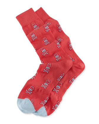 Bunny-Print Knit Socks, Coral