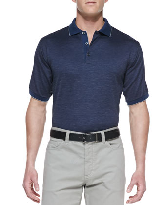Geometric-Knit Polo, Navy/Blue