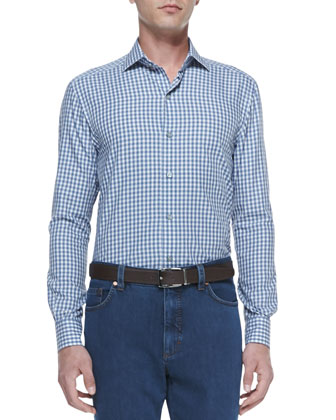 Box Check Long-Sleeve Shirt, Blue/White