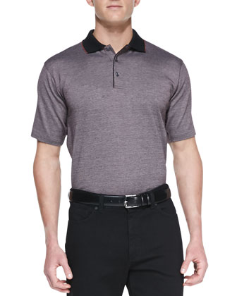 Birdseye Knit Polo Shirt, Rust/Black