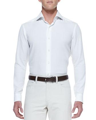 Knit Long-Sleeve Shirt & Cotton/Cashmere Five-Pocket Pants