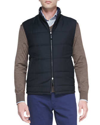 Quilted Wool/Twill Reversible Vest, Navy