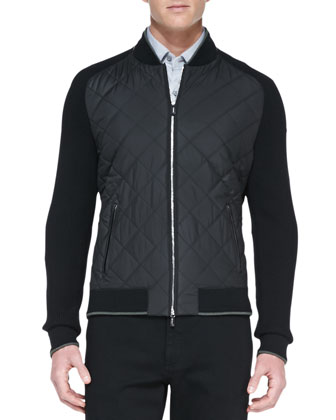 Quilted Wool/Knit Full-Zip Jacket, Black