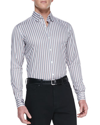 Long-Sleeve Graded Striped Shirt, Rust/Gray/White