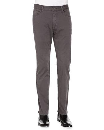 5-Pocket Stretch-Cotton Pants, Light Gray