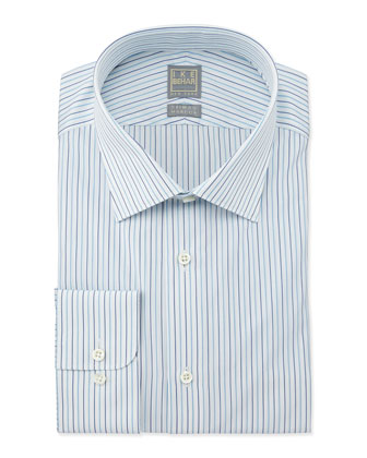 Mini-Stripe Dress Shirt, Aqua/White/Navy