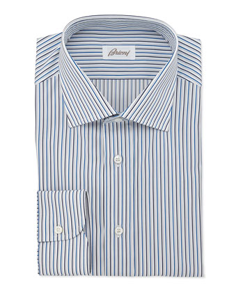 Bold-Stripe Dress Shirt, Teal/Navy
