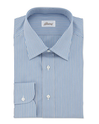 Striped Cotton Dress Shirt, French Blue