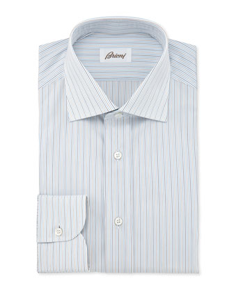 Mini-Stripe Dress Shirt, Light Blue/Yellow