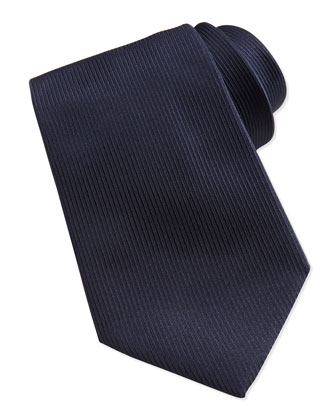 Woven Textured-Stripe Silk Tie, Navy