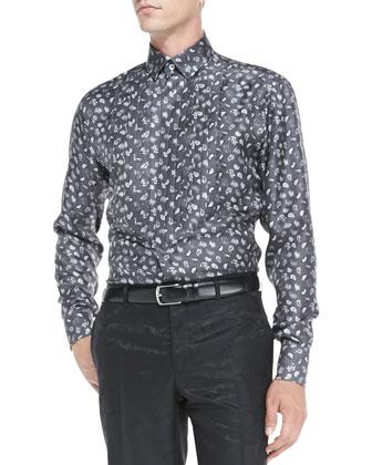Paisley Silk Tuxedo Shirt