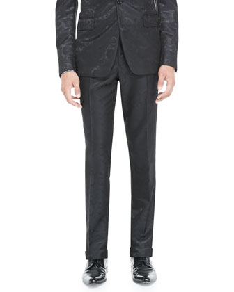Paisley Jacquard Tuxedo Pants, Black
