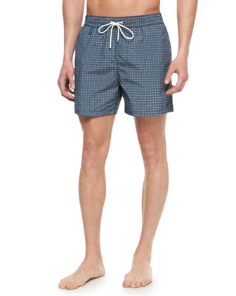 Gancini-Logo-Print Swim Trunks, Navy