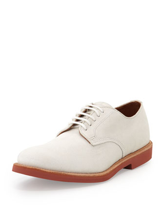 Abram Suede Lace-Up Oxford, White