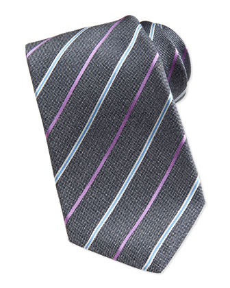 Satin-Stripe Oxford Tie, Gray
