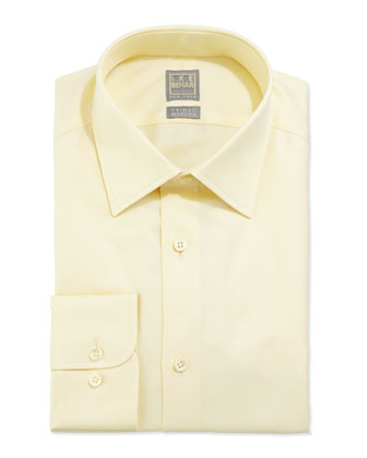 Solid Textured Dress Shirt, Light Yellow